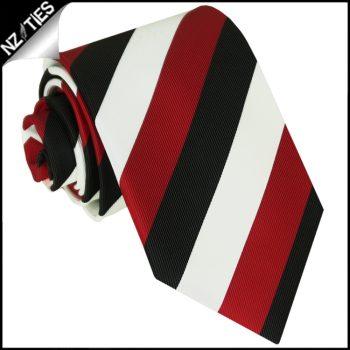 Red, Black & White Stripes Mens Sports Necktie