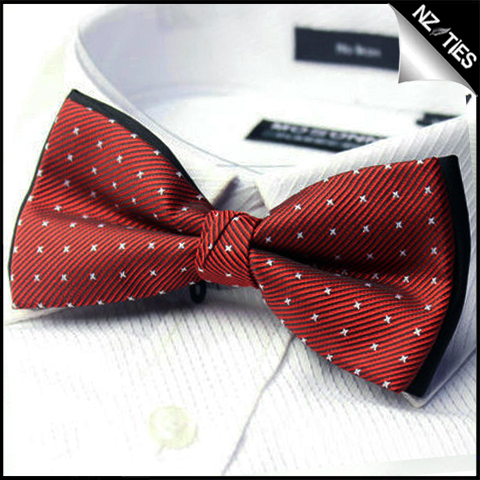 Mens Red with White Stars Bow Tie