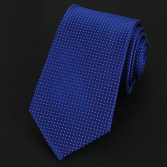 Mid Blue Check Pattern Silk Tie