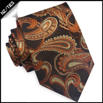 Black, Orange & Gold Paisley Mens Tie