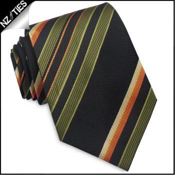 Green Black Orange Yellow Stripes Mens Necktie