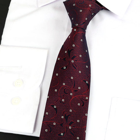 Burgundy Floral Pattern with White Squares Silk Tie 2