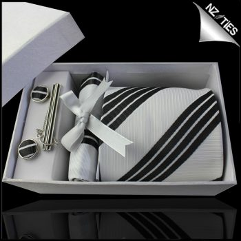 White With Black Rail Stripes Tie Set