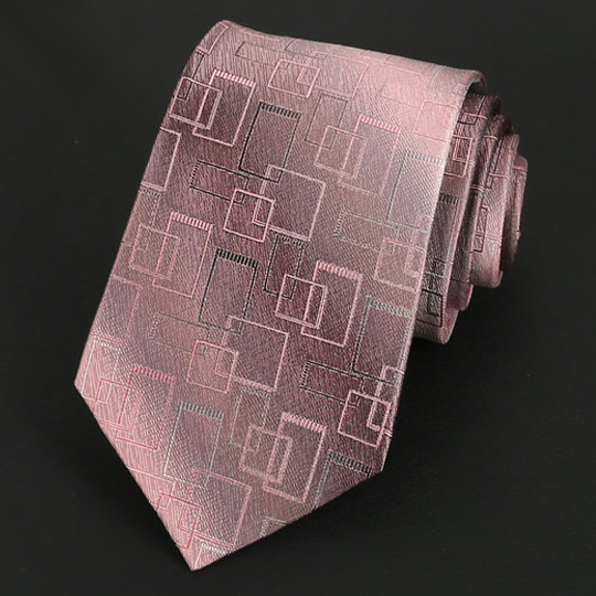 Blush with Art Deco Squares Silk Tie