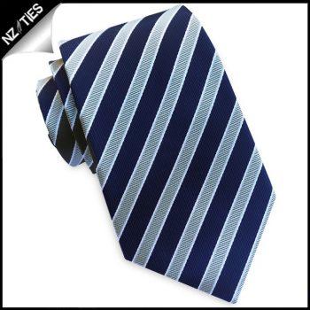 Dark Blue With Silver & White Stripes Mens Tie