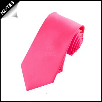 Boys Bright Hot Pink Plain Necktie