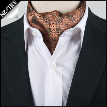 Men's Black & Bronze Filigree Ascot Cravat