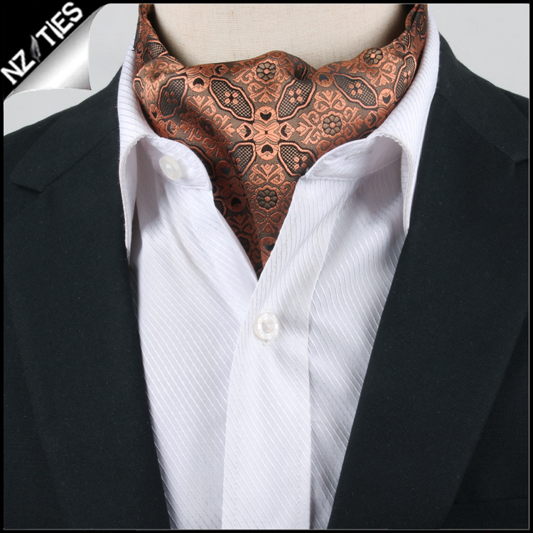 Men's Black & Bronze Filigree Ascot Cravat