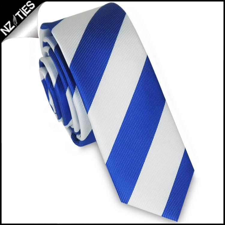 Royal Blue & White Stripes Mens Skinny Necktie