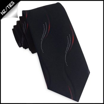 Black With Red & White Swirls Slim Tie
