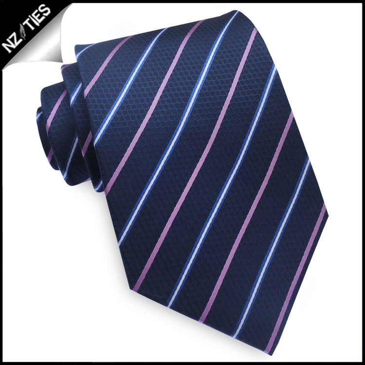 Dark Blue Texture with Pink & Blue Stripes Mens Tie