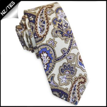 Cream With Blue Floral Paisley Men's Skinny Tie