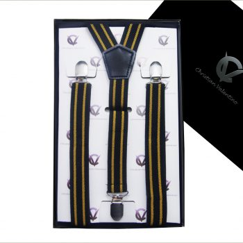 Black With Gold Stripes Men's Braces Suspenders
