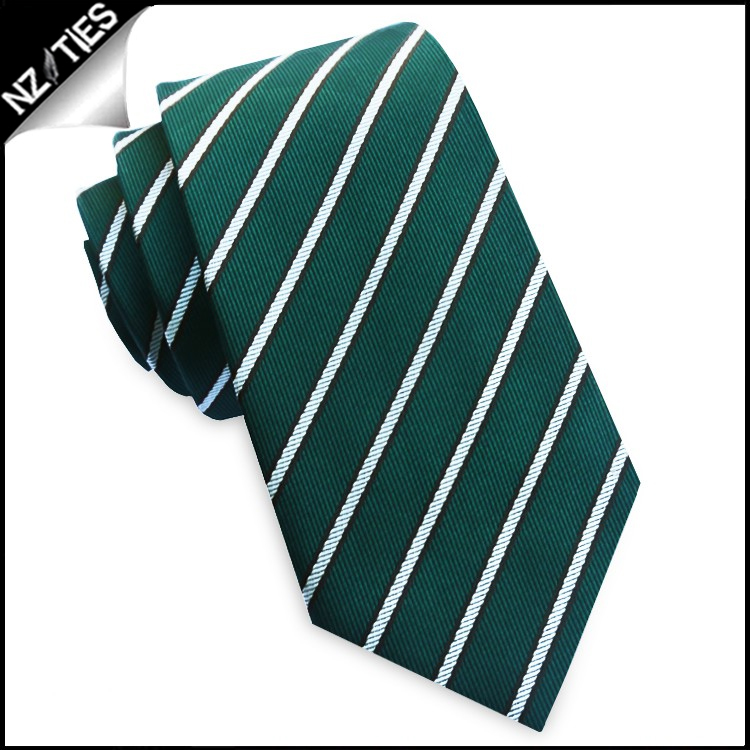 Emerald Green with Thin White & Brown Stripes Slim Tie