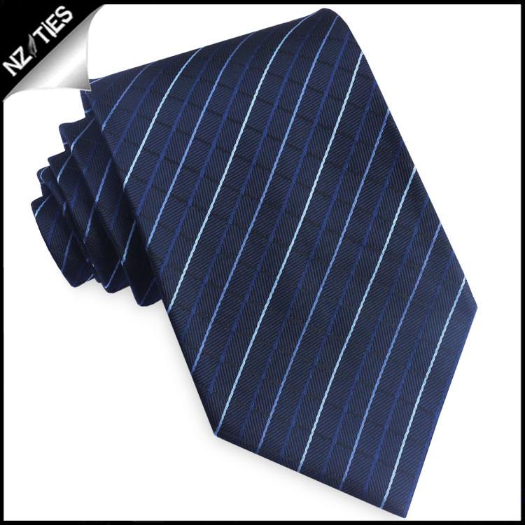 Dark Blue & White Diamond Grids Tie Set 2