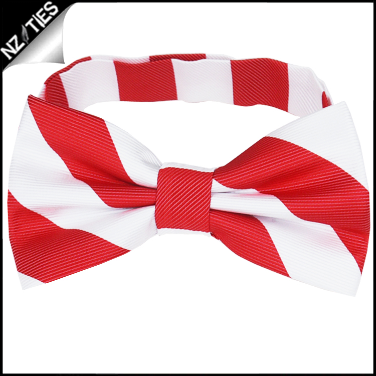 Red & White Stripes Mens Bow Tie