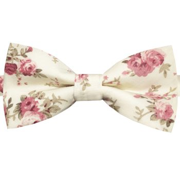 Cream With Pink Roses Pattern Bow Tie