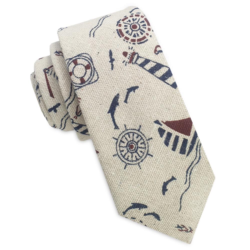 Beige with Nautical Pattern Men's Skinny Tie