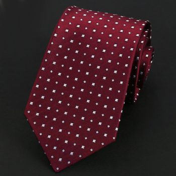 Dark Red With White Squares Silk Tie