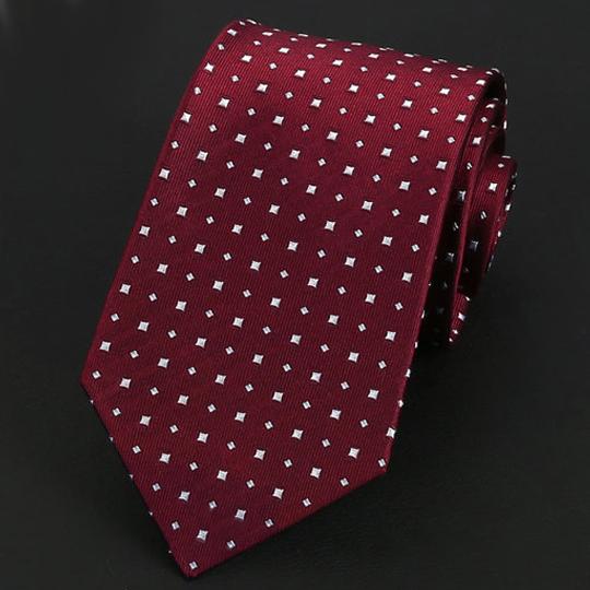 Dark Red with White Squares Silk Tie