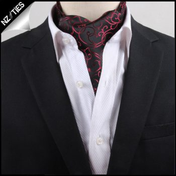 Men's Black With Red Swirl Design Ascot Cravat