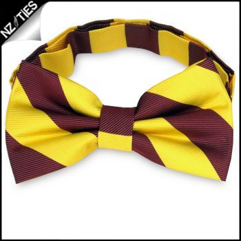 Yellow & Maroon Stripes Mens Bow Tie
