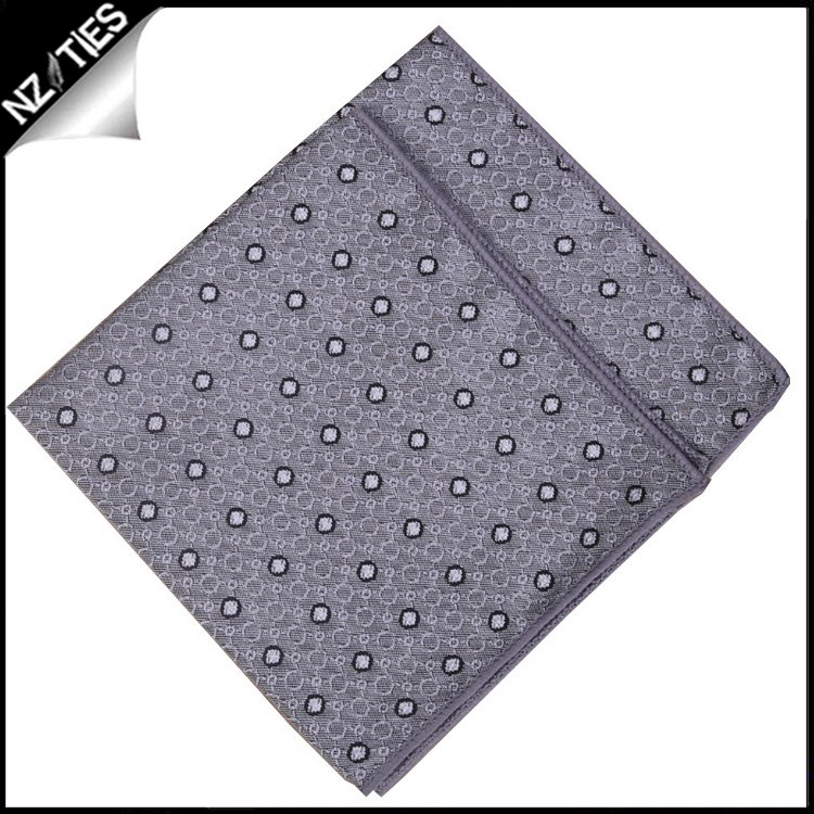 Silver with White Polka Dots Pocket Square