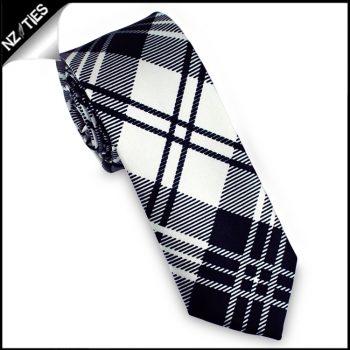 Black & White Tartan Mens Skinny Necktie