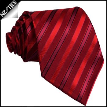 Scarlet With Cherry Red And Black Stripes Mens Necktie