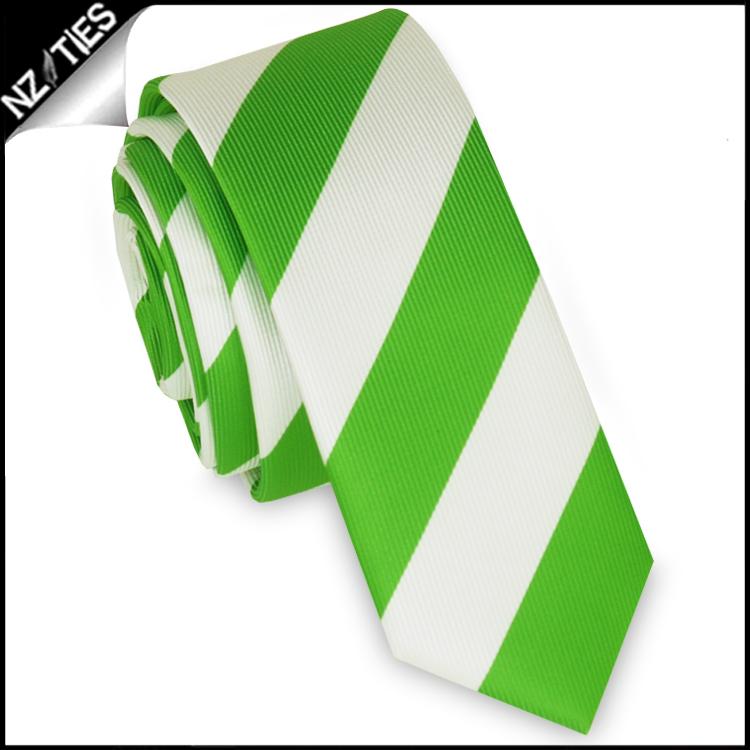 Green & White Stripes Mens Skinny Tie