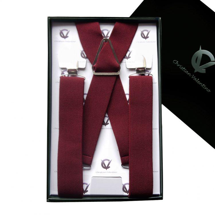 Burgundy X3.5cm Men's Braces Suspenders