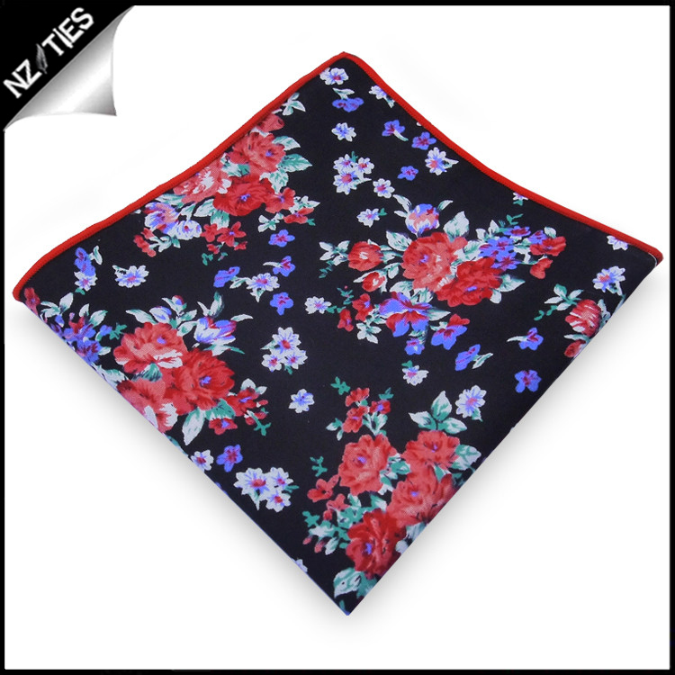Black with Red, White & Purple Floral Pocket Square