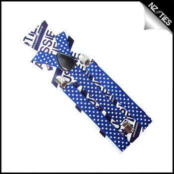 Blue With White Polka Dots Boys Braces Suspenders