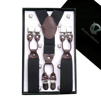 Black Leather Attachment 3.5cm XL Braces