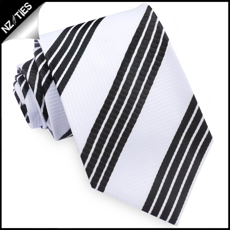 White with Black Rail Stripes Tie Set 2