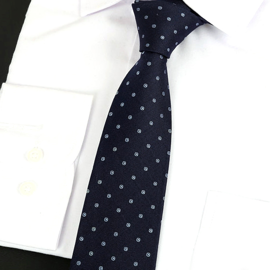 Dark Blue with Light Blue Rings Silk Tie 2