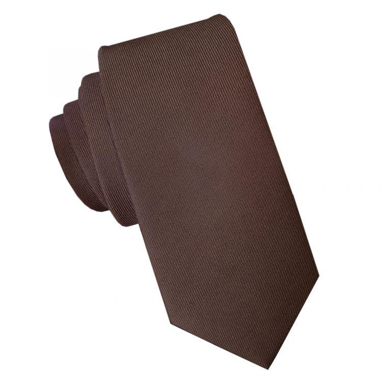 Dark Chocolate Brown Cotton Blend Skinny Tie