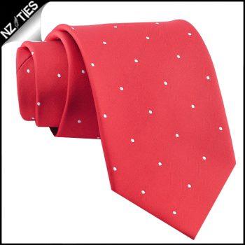 Cherry Red Pin Dot Mens Tie