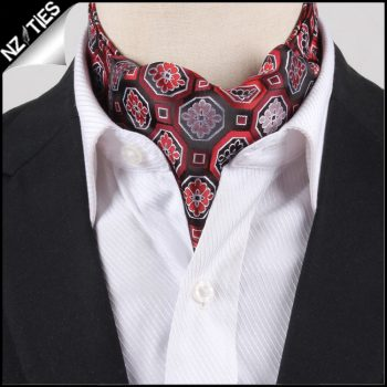 Men's Red & Black Octagonal Design Ascot Cravat