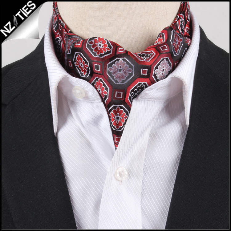 Men's Red & Black Octagonal Design Ascot Cravat