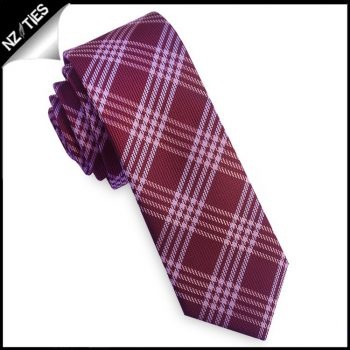 Burgundy & White Plaid Skinny Tie