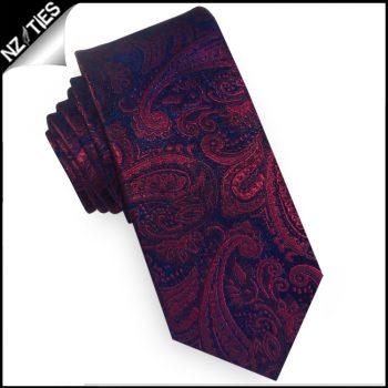 Dark Blue & Red Paisley Mens Slim Tie