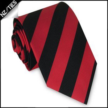 Red & Black Stripes Boys Sports Necktie