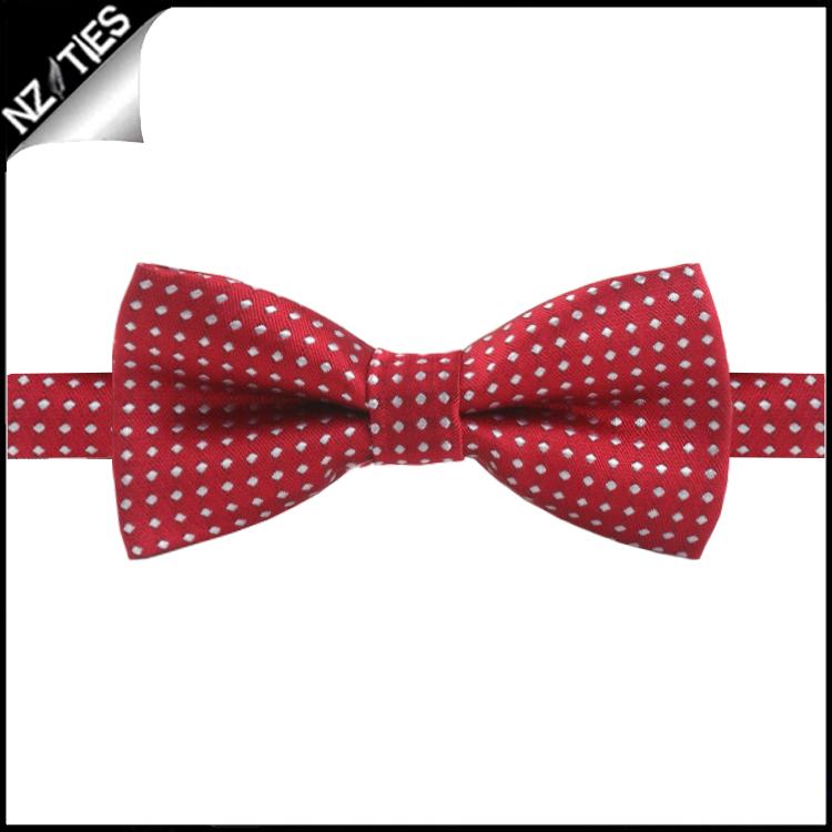 Boys Scarlet with White Polkadots Bow Tie