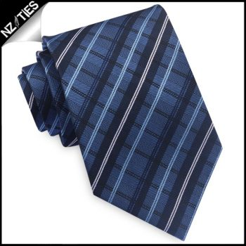 Blue And White Plaid Mens Tie
