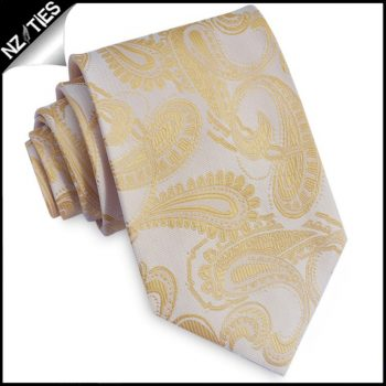 Pale Yellow Paisley Mens Tie