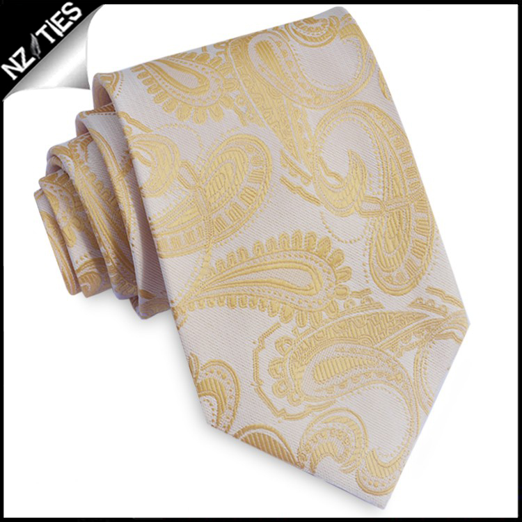 Pale Yellow Paisley Mens Tie