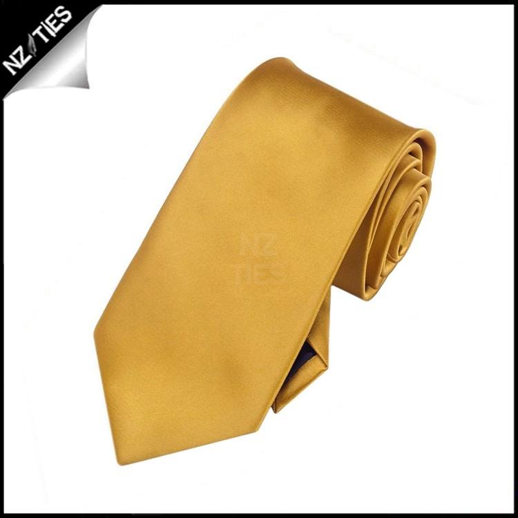 Boys Classic Gold Plain Necktie