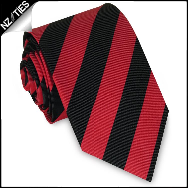 Red & Black Stripes Mens Sports Necktie