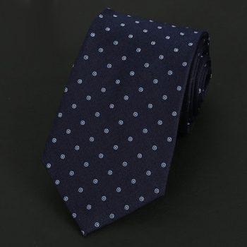 Dark Blue With Light Blue Rings Silk Tie